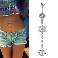 ganggangfa Crystal Belly Button Bar Barbell Ring Body Piercing Navel Chain Anchors Rudder Pendant Navel = 5616998273