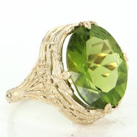 Peridot Cocktail Ring Vintage 14 Karat Yellow Gold Estate Fine Jewelry Statement