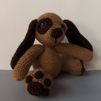 """Moss, The Crochet Brown & Tan Puppy Handmade Pose able Dog 7"""" (READY TO SHIP)"""