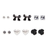 Set of Six Stud Earrings with Bows, Hearts and Stones