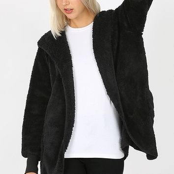 Hooded Faux Fur Cocoon Jacket