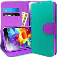 Galaxy S5 Case, Caseology® [Leather Wallet Series] Inner Credit Card Pocket [Turquoise Mint] [Horizontal Stand] for Samsung Galaxy S5 - Turquoise Mint