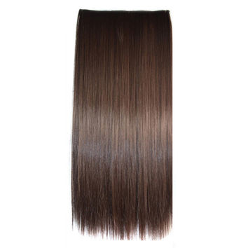 Ivisible Hair Weft Long Straight Hair Extension 5 Cards Wig brown black