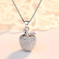 New sterling silver apple necklace ladies clavicle chain s925 pendant Stockings Shoes Dress Bikini bag