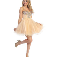 2013 Prom Dresses - Champagne & White Chiffon & Beaded Strapless Short Prom Dress