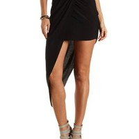 Asymmetrical Ruched Maxi Skirt by Charlotte Russe