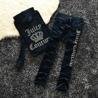 Juicy Couture Studded Logo Crown Velour Tracksuit 605 2pcs Women Suits Navy Blue - Ready Stock
