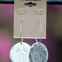 Silver Disc Earring with Engraved Initial