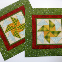 Quilted Mug Rugs  Set of 2  Pin Wheel in Green and Gold
