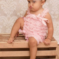 Blush Pink Lace Baby Romper Photo Prop - CPD001B CLOSEOUT