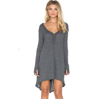 Gray Long Sleeve V-Neck Button Up Dress