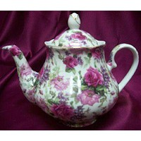 Pink Roses and Lilacs Chintz Porcelain 33 oz. Teapot Satin Lined Gift Box