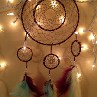 Double ring pyramid dream catcher
