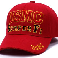 US Marine Corps USMC Semper Fi Emblem Embroidered Adult Cap [Adjustabl