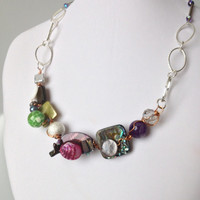 Purple and Green OOAK Wired Necklace