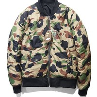 Camouflage double-sided wear men's casual air uniform padded cotton coat [353205223460]