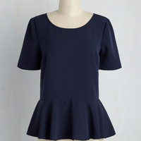 Cinch-Perfect Top in Ultramarine | Mod Retro Vintage Short Sleeve Shirts | ModCloth.com