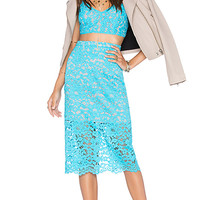 x Naven Twins Oblivion Layered Skirt in Turquoise Lace