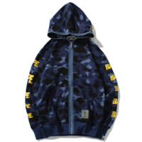 Bape Aape New fashion letter print camouflage hooded long sleeve sweater coat Blue