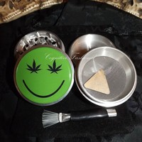 Weed Leaf Smiley Face 4 Piece Herb Grinder Pollen Screen Catcher Scraper