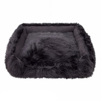Animals Matter Shag Lounger Dog Bed — Black
