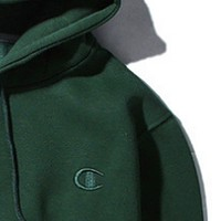 Champion autumn and winter small logo embroidered men and women hoodie hooded sweater coat Green