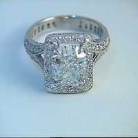 4.07ct Cushion Cut Diamond Engagement Ring GIA certified 18kt White Gold JEWELFORME BLUE