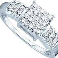Diamond Ladies Fashion Ring with Square Princess in 14k White Gold 0.33 ctw