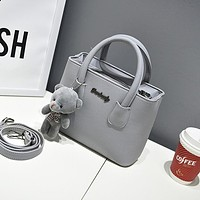 Women Casual Day Time Hand Bag With Plush Bear Charm