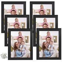 6x8 Picture Frames Set Photo Frame for Wall Decor or Tabletop, Black, Set of 6