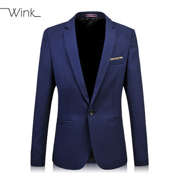 Mens Cotton Blazers Button Slim Fit 2015 New Arrival Brand Designs Large Size 5XL 6XL Fashion Casual Terno Masculino Blue J204