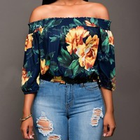 New Navy Blue Floral Print Draped Plus Size Off Shoulder Backless 3/4 Sleeve Casual Elegant Blouse