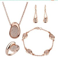 Gold Plated Crystal Cz Rhinestone Jewelry Sets Necklace, Bracelet, Ring, Earrings