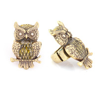 Antique Gold Green Owl Stretch Ring