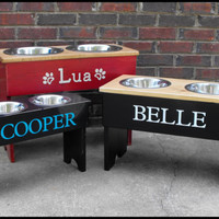 Raised Dog  Stand Personalized  Large Two Tone- 18'' Tall - 2  2 Quart Bowls
