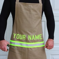 Personalized firefighter apron with lettering by FullyInvolvedStch