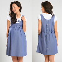 2015 New Summer Maternity Dress Maternity One-piece Casual Dress pregnancy Denim Clothing Bow Clothes for Pregnant Women