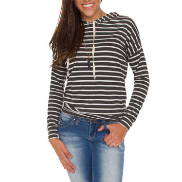 Ravenna Striped Hoodie Top