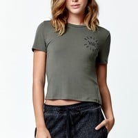 Young & Reckless Round We Go Short Sleeve Cropped T-Shirt - Womens Tee - Green