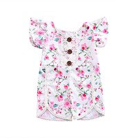 born Baby Girl Floral Lace Splice Romper Summer Button Princess Toddler Kids Jumpsuit Outfit Clothes