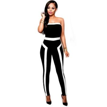 2016 Summer Off Shoulder Black Pants Jumpsuit Patchwork Backless Strapless Rompers Sexy One Piece Overalls Elegant Bodycon