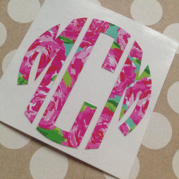 Lilly Pulitzer Circle Monogram | Lilly Inspired Car Decal | Car Monogram  | Preppy Monograms | Lilly Monogram | Lilly Pattern Car Decal