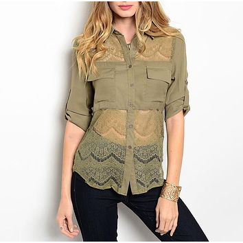 Sheer Lace Waist Button Down Blouse in Olive Green