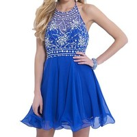 VILAVI Womens A-line Round Brought Short Chiffon Homecoming Dresses 2 Royal Blue