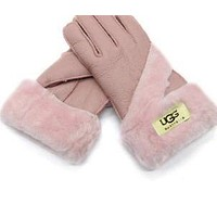 UGG fur gloves warm winter fashion new style Pink