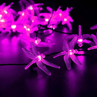 LED SopoTek multi-color led string 30 LED 6m Dragonfly Solar Fairy String Lights?waterproof solar led christmas lights,indoor and Outdoor, Gardens Wedding Christmas Party decrations(Pink)