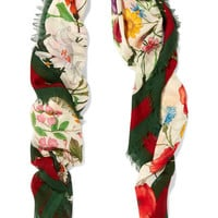 Gucci - Printed wool and silk-blend scarf