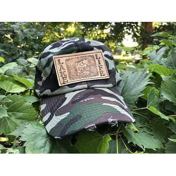 Camo Men's Trucker Hat with Tooled Leather Lake Life and Bass Fish