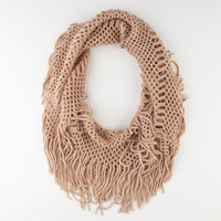 Open Link Fringe Infinity Scarf Tan One Size For Women 23276241201