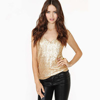 Hot Popular Women Sexy Gold Slim Spagehetti Strap V Neck Erotic Top Women Tank Vest _ 12762